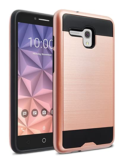 competitive price 2caf3 d735b Alcatel OneTouch Flint Case, Alcatel OneTouch Fierce XL Case, kaesar [Slim  Fit] [Shock Absorption] Brushed Metal Texture Hybrid Dual Layer Slim ...