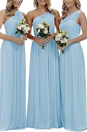 d8b2c42091c EUMI Chiffon Bridesmaid Dresses Women's Long One Shoulder Asymmetric Prom  Evening Gowns, Blue, ...