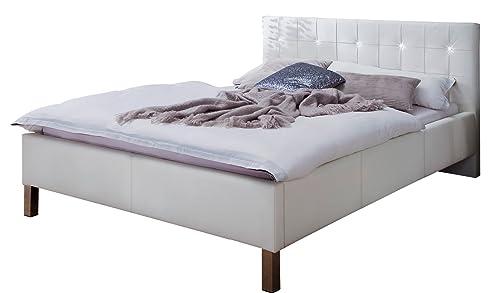 Sette Notti Polsterbett Bett 140x200 Weiß Mit Strasssteinen, Kunstleder Bett  Mit Liegefläche 140x200 Cm,