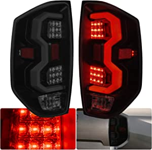 AJP Distributors LED Tube Tail Lights Light Lamps Brake Turn Signal For Toyota Tundra 2014 2015 2016 2017 2018 2019 2020 14 15 16 17 18 19 20 (Black Housing White Tube Smoke Lens)