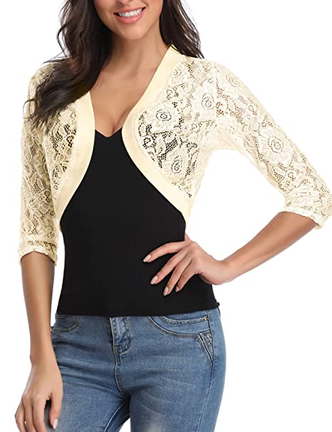 c99e1b3346d ATYPE Women s 3 4 Sleeve Bolero Jackets Crochet Open Cardigan Lace Shrugs  for Dresses Apricot