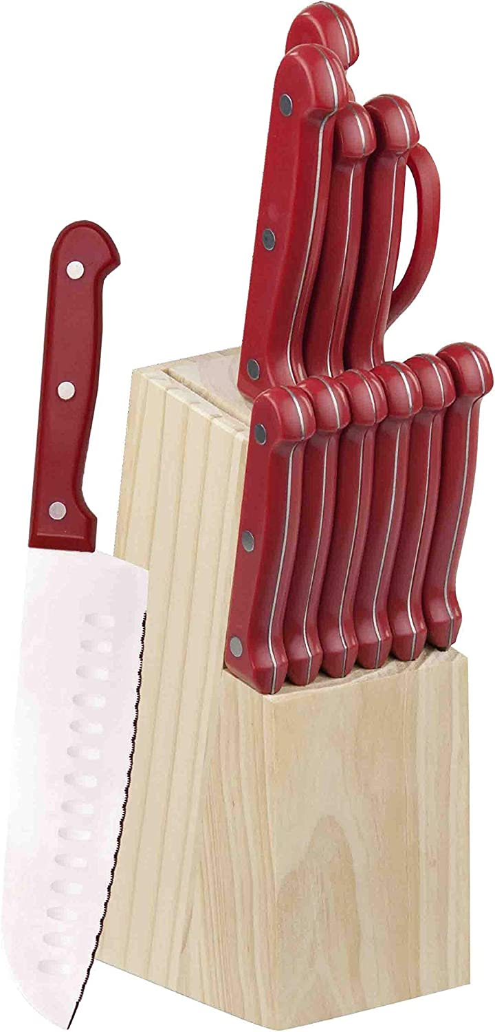 Home Basics 13 Piece Block in Red Knife Set, One Size
