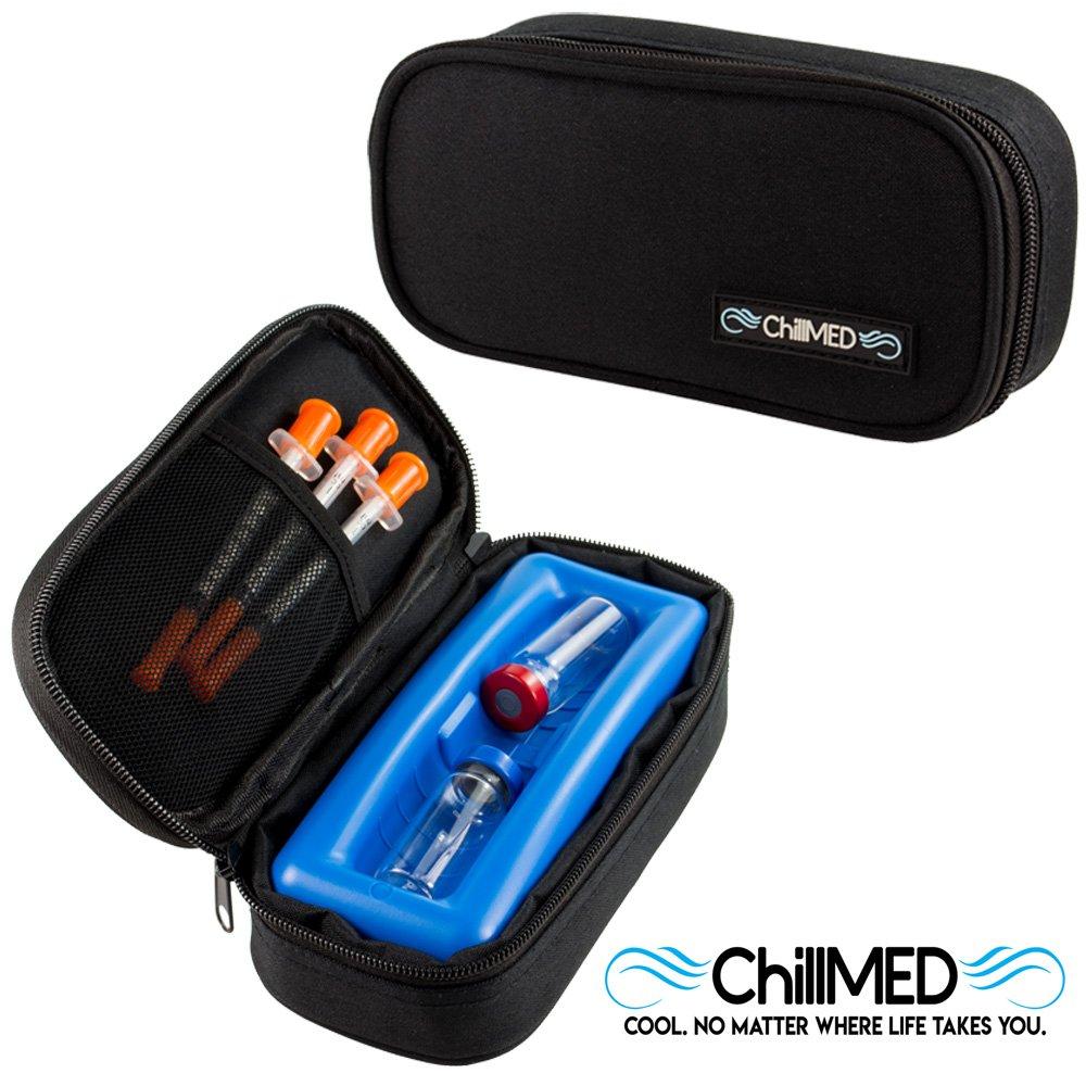 ChillMED Micro Cooler - Diabetic Insulin Vial Carrying Case Travel Pack (Black)