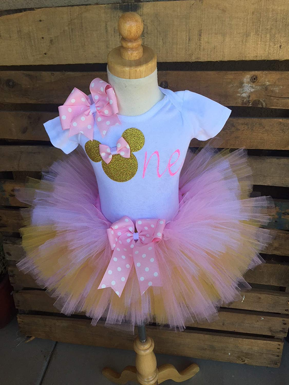cd28295e7d7c1 Minnie Mouse Birthday Tutu Outfit Set Dress Shirt First Birthday 1st Baby  Light Pink and Gold