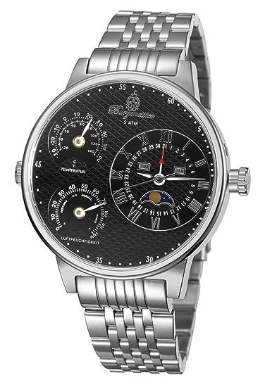 Burgmeister Montana BM309-121 - Reloj de Caballero automático, Correa de Acero Inoxidable Color Plata: Burgmeister: Amazon.es: Relojes