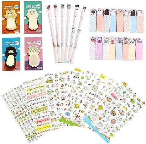 Kawaii School Supplies – Juego de 6 bolígrafos de gel, 120 notas ...