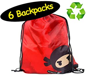 Karate or Ninja Party Favors Drawstring Backpacks // Made of Recycled Plastic RPET // 6-Pack, 12 x 14 inches