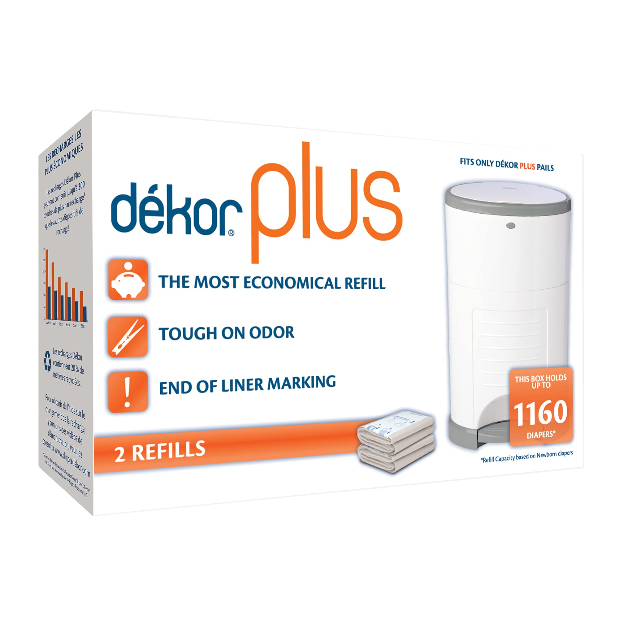 Dekor Plus Diaper Pail Refills | 2 Count | Most Economical Refill System | Quick & Easy to Replace | No Preset Bag Size – Use Only What You Need | Exclusive End-of-Liner Marking | Baby Powder Scent