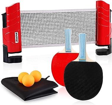 XGEAR Juego de Ping Pong con 2 Raquetas + 3 Bolas Pelotas Tenis de Mesa +