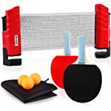 XGEAR Anywhere Table Tennis Set includes an expandable net with post, 2pcs pingpang paddles,3pcs ABS balls and a storage bag