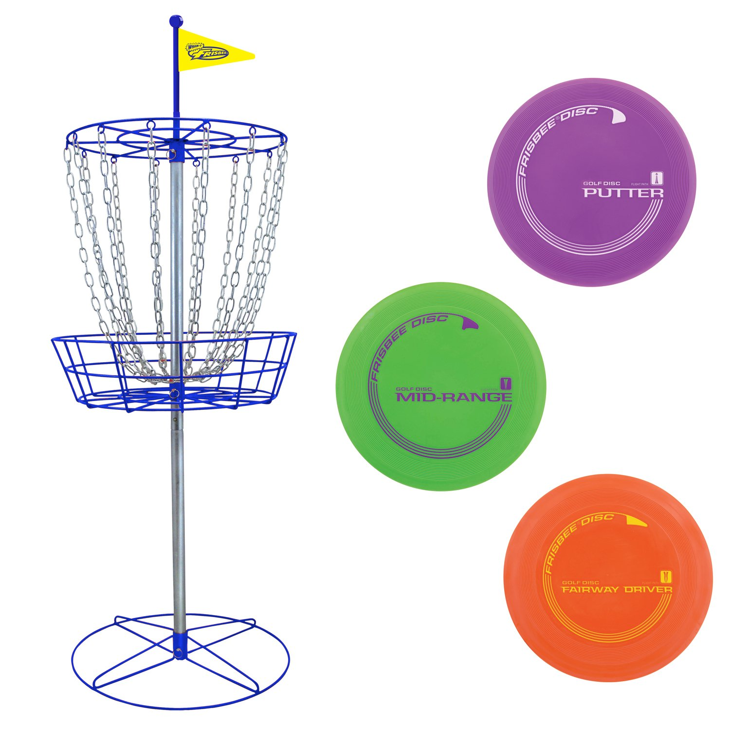 Wham-O PDGA Approved Official Frisbee Disc Golf Set with 3 Discs and Blue Target