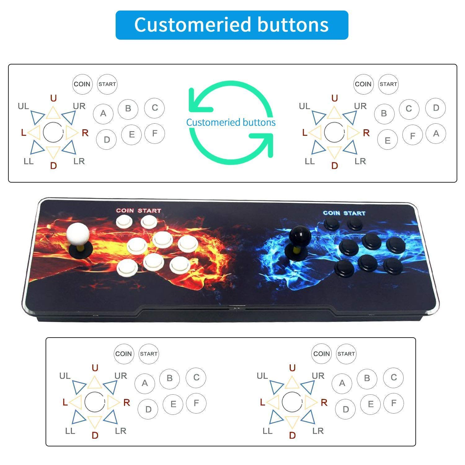 SeeKool Pandora 11 Arcade Video Game Console, 2255 in 1 Retro Video Games Colorful LED Double Stick Arcade Console, HDMI VGA USB Newest System Arcade Machine, Built-in Speaker by SeeKool (Image #7)