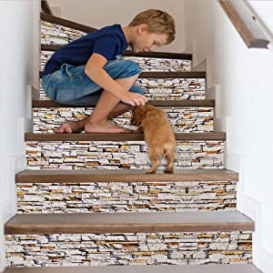 Cosaving Stairs Stickers Decals Brick Vinyl Stair Risers Stickers Peel and Stick Self-Adhesive Decals for Stairs/Backsplash Home Decor Removable, 7x39 inch, 6 Pcs/Set, Stone