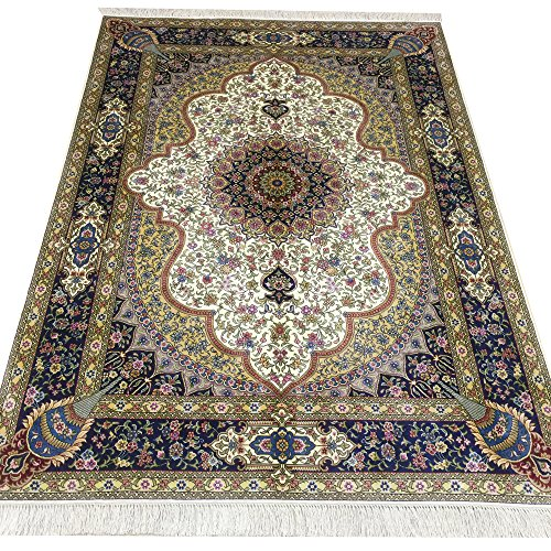 4'x6' Vintage Qum Silk Rug Hand Woven Persian Carpet Oriental Rugs for Home