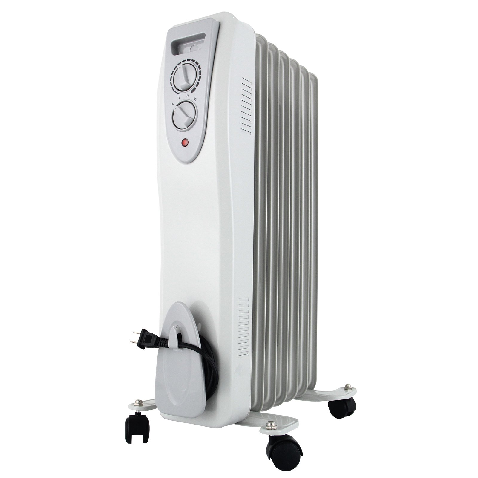 KUPPET YA400100 Electric Oil Filled Radiator Radiant Heater, Portable Radiant Space Heater For Home Room with Adjustable Thermostat, Auto Shut off, 6-Fin, 1500W, 3 Power Settings, White