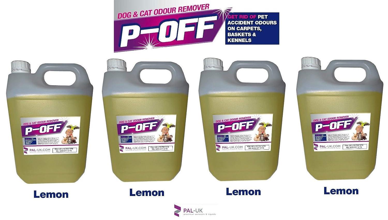 4x 5l P-off pour animal domestique d'urine odeur anti-odeurs–Wee les excréments Poo Cat Dog–Citron. PAL-UK