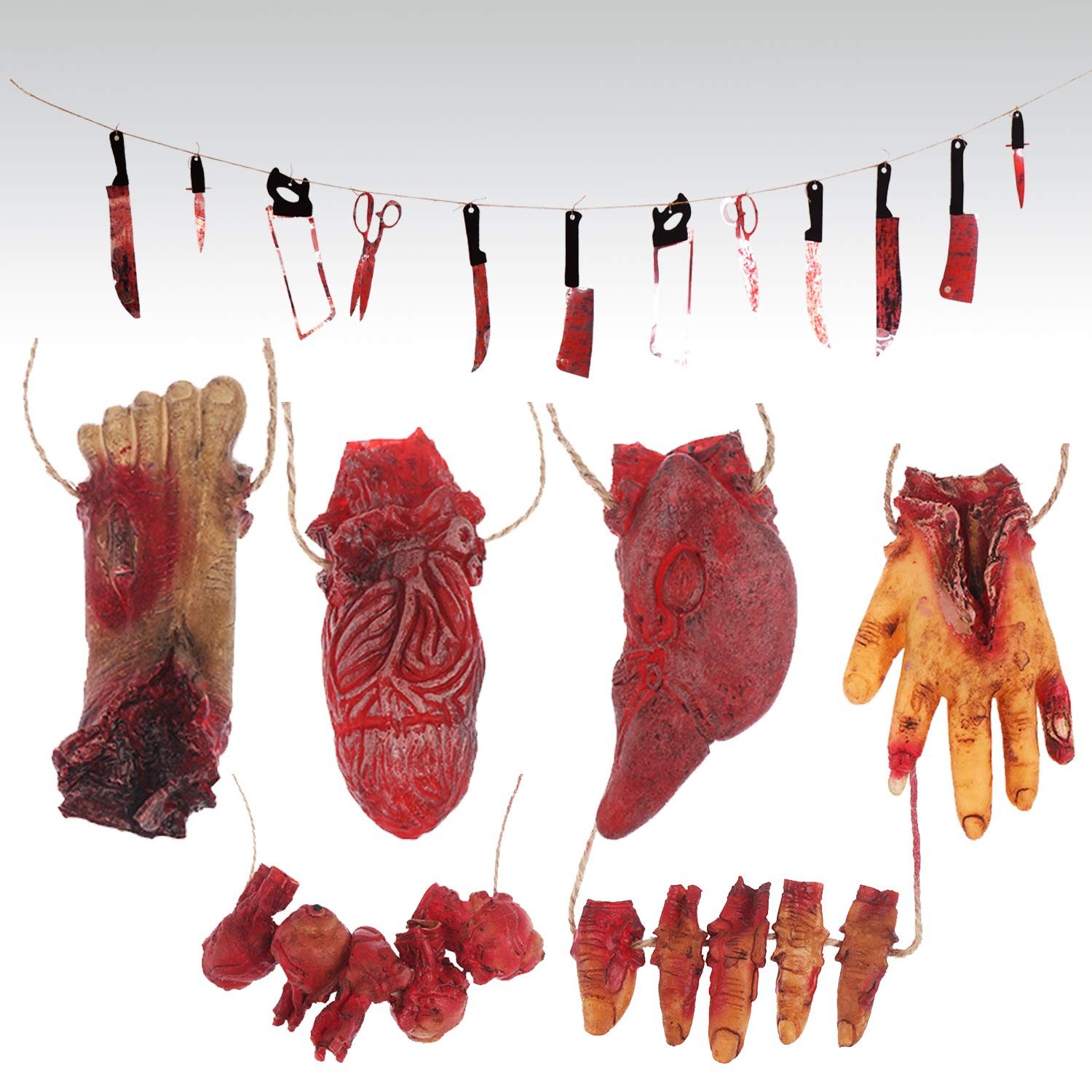 Omigga 18 pcs Halloween Props Decorations Blood Weapon Garland Banner Hand Broken Body Parts Fake Scary Blood Props for Halloween Party Haunted Houses Decorations,6 Body Parts +12 Weapon by Omigga