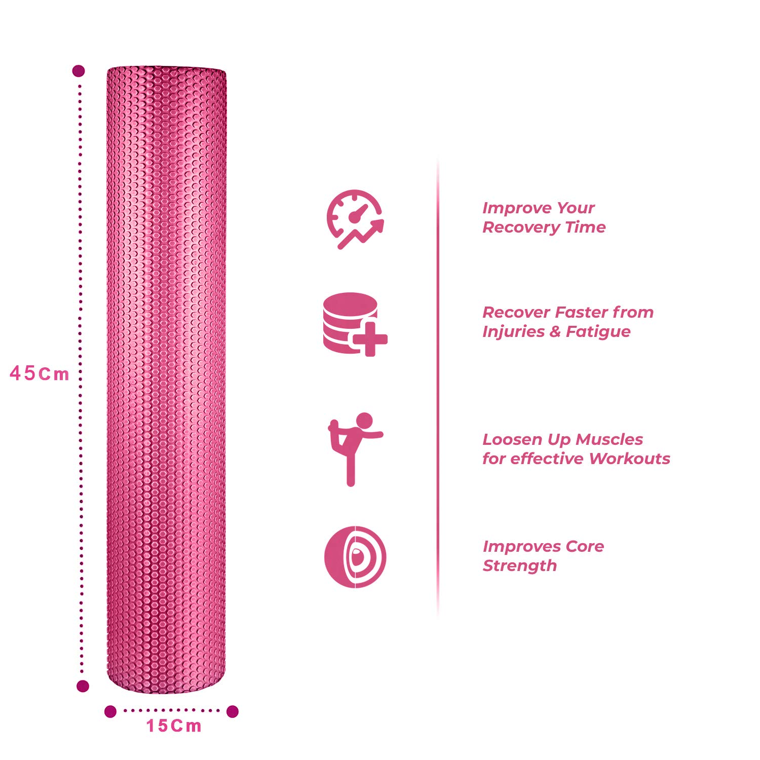 spinway Yoga Foam Roller Speckled Foam Rollers for Muscles Extra Firm High Density for Physical Therapy Exercise Deep Tissue Muscle Massage (Pink)