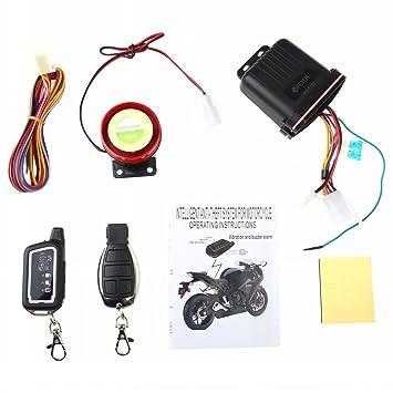 Farsler Motocicleta Alarma 12V 125dB Motocicleta Bidireccional Seguridad Anti-robo Remoto Vibración Sensor Sistema de Alarma Scooter Inmovilizador ...