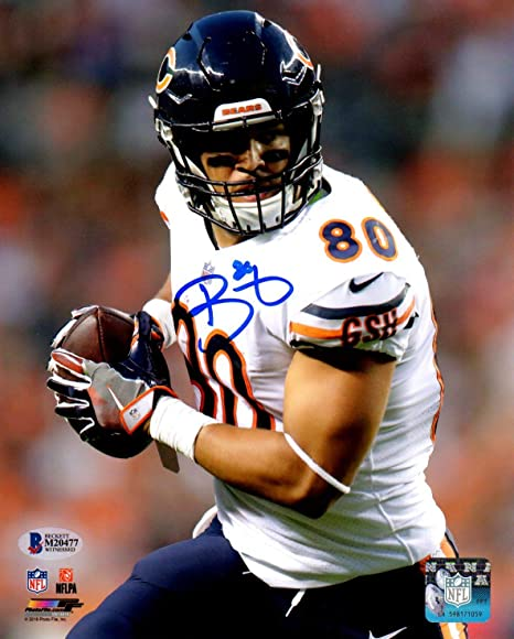 59695d01 Beckett BAS Trey Burton Autographed Signed Chicago Bears White Jersey 8x10  Photo