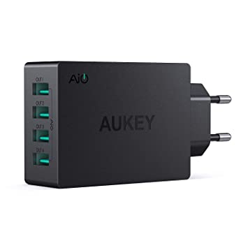 AUKEY Cargador USB con Tecnología AiPower 40W 8A 4 Puertos Cargador Móvil para iPad Air / Pro, iPhone X / 8 / 8 Plus, Samsung, HTC, LG, Tabletas y ...