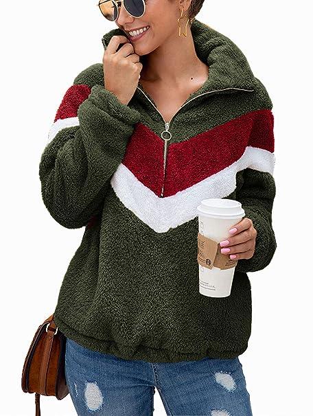 reputable site d1725 1b3ff SWQZVT Womens Long Sleeves Half Zipper Sherpa Outwear Sweatshirt Warm Fuzzy  Fleece Pullover Jacket Coat with Pockets