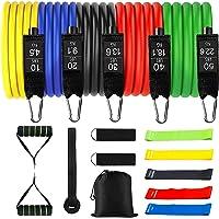 Tumax Weerstandsbanden, Training Fitnessbanden met Handvat, 18 Stuks Trainingsbanden Stapelbaar tot 150lb, Indoor…