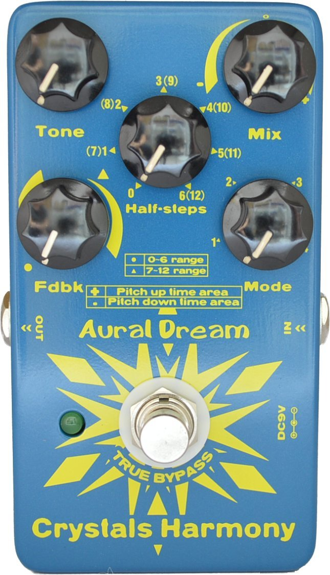Aural Dream Crystals Harmony Guitar Digital Pedal with 4 Modes harmony and shifting simetones or Octave for creating crystal particles effects,True Bypass by Aural Dream