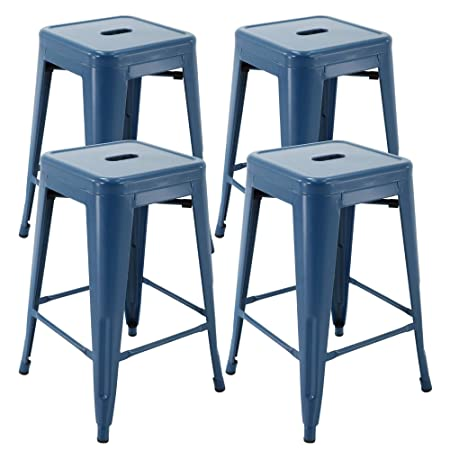 Vogue Furniture Direct 24 Barstools Backless Metal Barstool Indoor-Oudoor Counter Height Stool with Square Seat 4, Indigo Blue