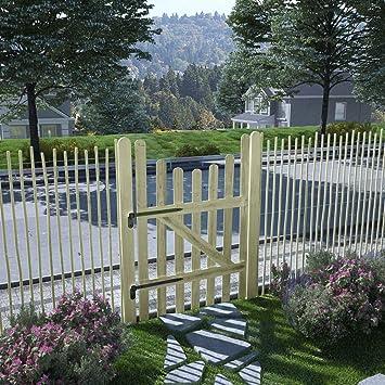 UnfadeMemory - Puerta de madera para jardín, puerta de entrada, puerta de madera de pino impregnada para el jardín, terraza o patio: Amazon.es: Bricolaje y herramientas