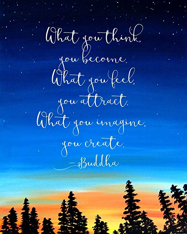 com buddha quote wall art print what you think you become