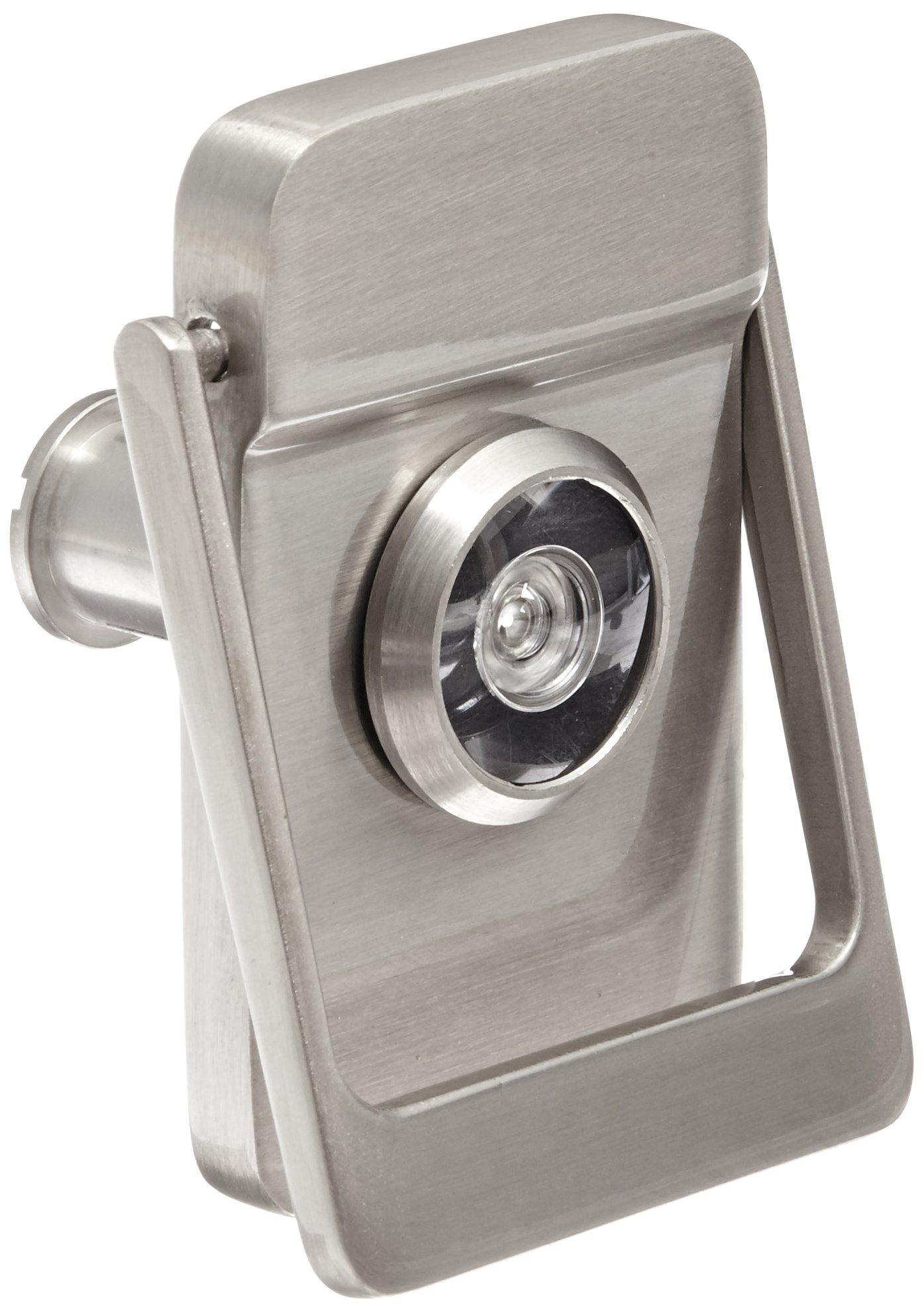 Rockwood 614V.15 Brass Door Knocker with Door Viewer, 2-1/8'' Width x 3'' Height, Satin Nickel Plated Clear Coated Finish