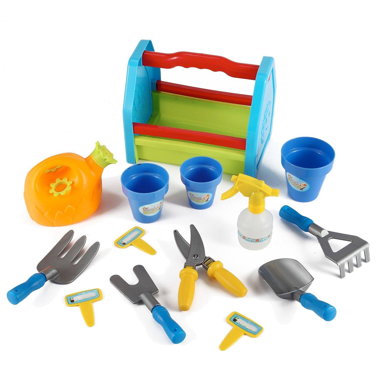 PowerTRC Rainbow Gardening Tool Box 14pc Garden Tools Toy Set for Kids PowerTRC®