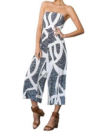 c696c8125c Celltronic Women s Floral Print Off Shoulder Romper Casual Strapless Wide  Leg Pants Jumpsuit