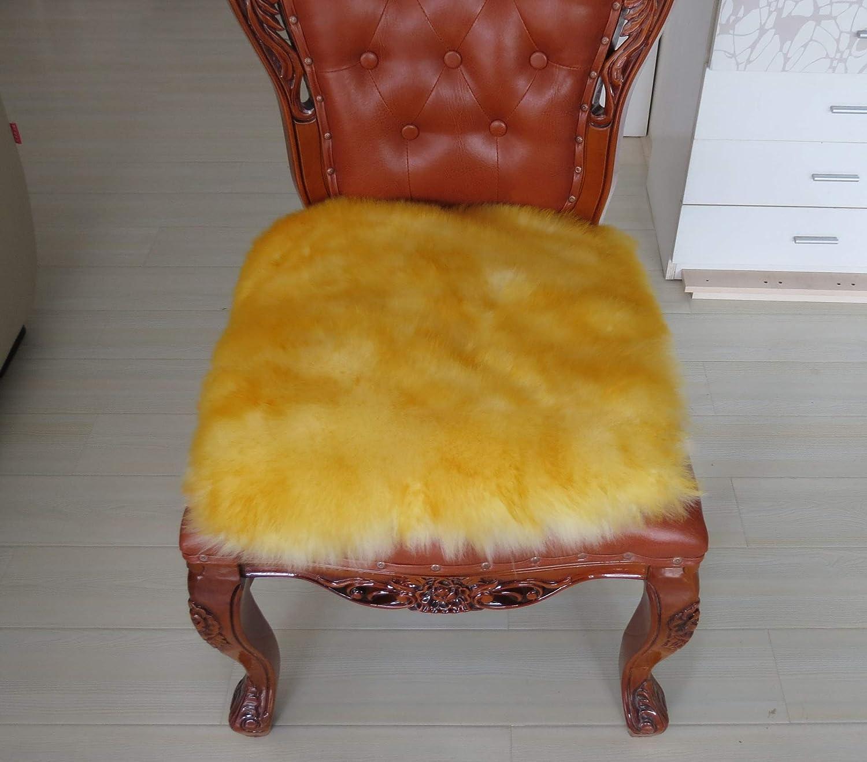 Genuine Long Wool Chair Cuscino del Divano Car Seat Cover Cuscino Sedia da Ufficio Sedia da Pranzo Cuscino Capo Cuscino del Sedile-oro,55  55CM