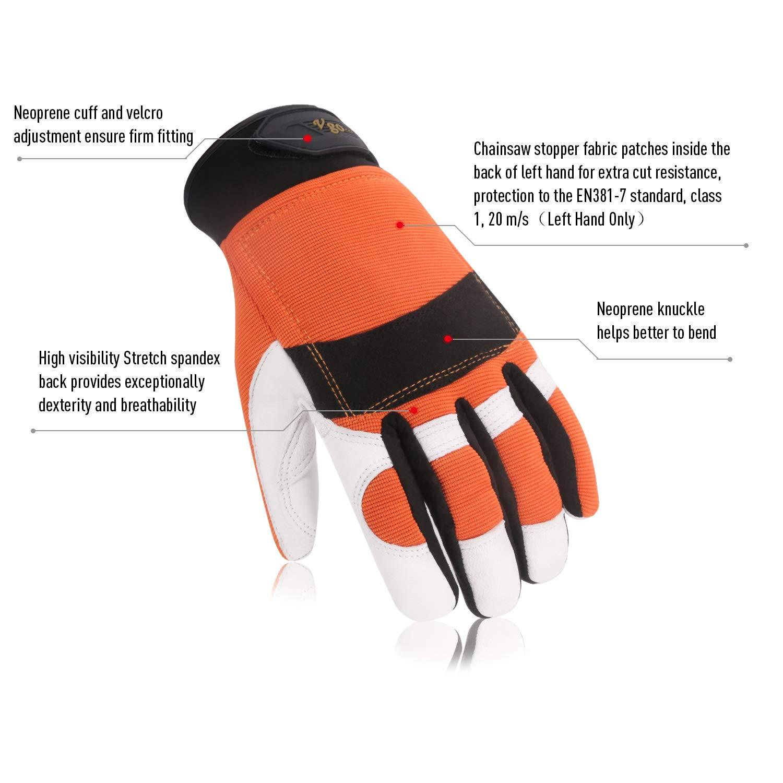 Schnittschutz Kettens/ägeschutzhandschuhe hohe Anti-Schneidenferigkeit Klass 1 Vgo EN381-7 1 Paar, 10//XL, Orange, GA8912 20 m//s aus Ziegenleder und PVC