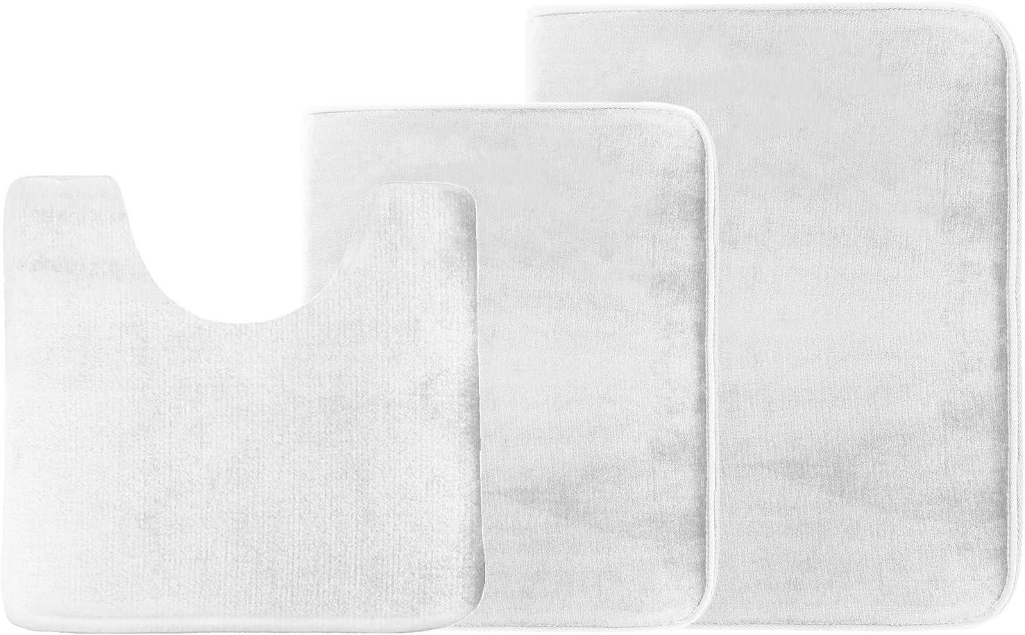 Clara Clark 3-Pack Bath Mat Set – Large, Small and Contour Bathroom Rug Set, Absorbent Memory Foam Bath Rugs, Non-Slip, Thick, Velvet Microfiber Bathrug, Plush Shower, Toilet Bathmats Carpet, White
