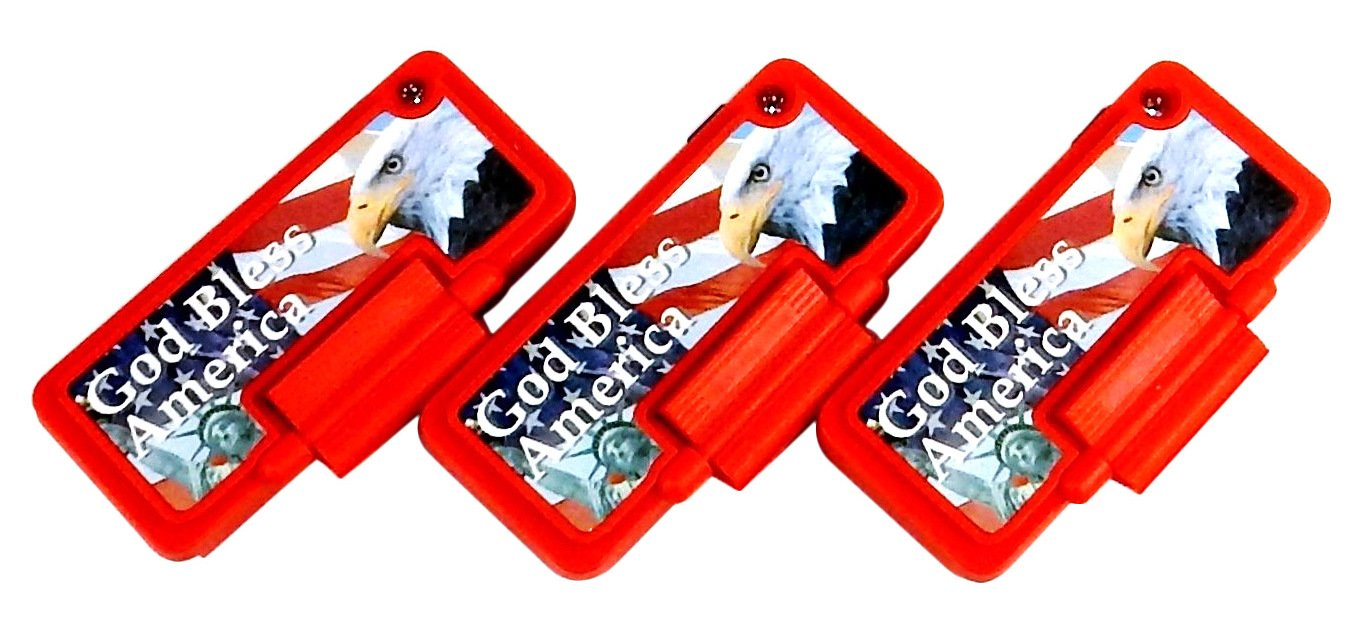 Lot of 72 Magnetic Memo Clips, ''God Bless America'' Beeps with Flashing Red LED.