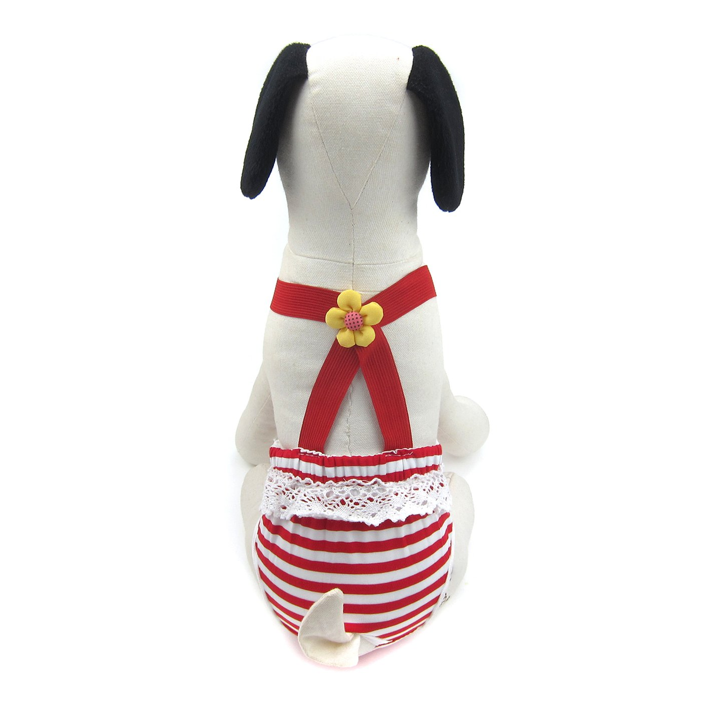 Alfie Pet by Petoga Couture - Kelly Diaper Dog Sanitary Pantie with Suspender for Girl Dogs - Color Red Stripe, Size: XXL