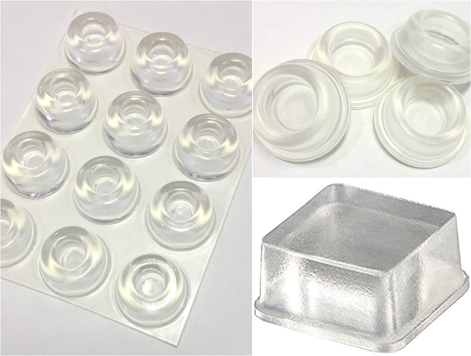Combo of 12 Clear Small Door Knob Bumpers + 4 Clear Large Door Stopper Bumpers + 20 Clear Tall Square Bumpers for Electronics, Wall Protectors, Furniture, Appliances