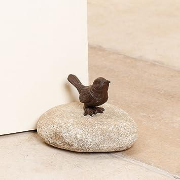 Vintage Stil Gusseisen Vogel Ornament Auf Naturlichen Finish Stein