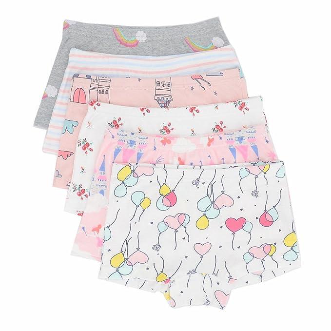 33d237d9da8e Toddler Little Girls Boyshort Panties Kids Cotton Boxer Briefs Underwear  Set 6 Pack (2T-