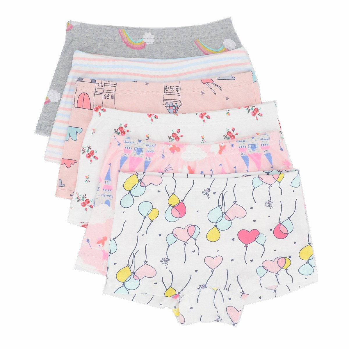 Toddler Little Girls Boyshort Panties Kids Cotton Briefs Underwear Set 6 Pack (3T-4T, Style1)