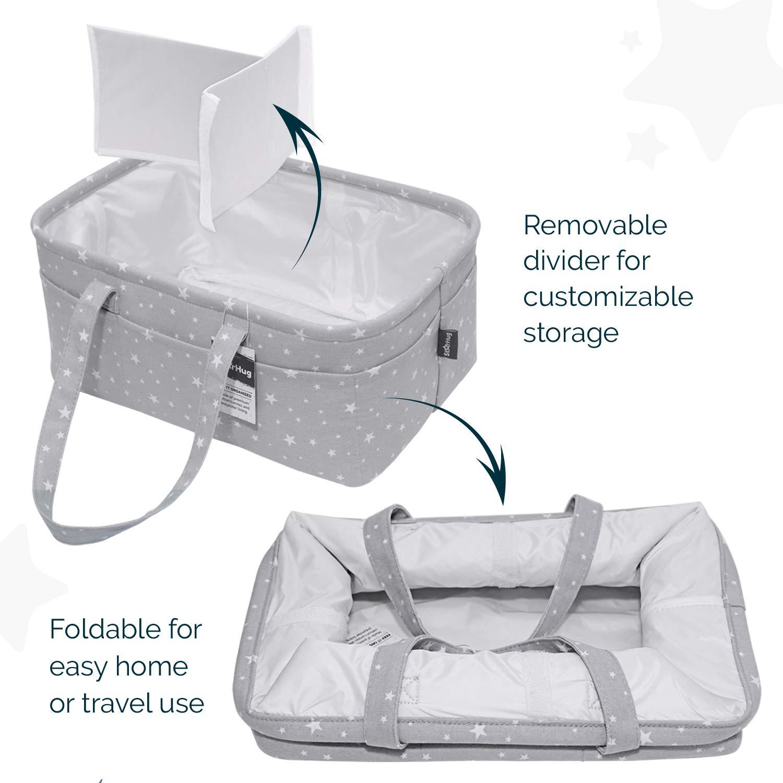 Stylish Baby Diaper Caddy Organizer - Large Nursery Storage Bin for Changing Table | Car Travel Tote Bag | Boy Girl Shower Gift Basket | Newborn Registry Must Haves | Free Bonus Bottle Cooler