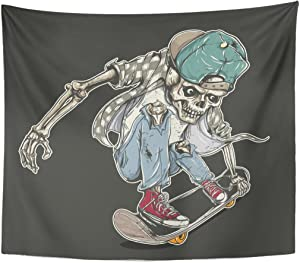 TOMPOP Tapestry Skate of Skull Riding Skateboard Board Vintage Active Activity Home Decor Wall Hanging for Living Room Bedroom Dorm 50x60 Inches