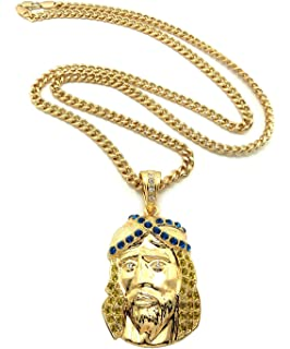 Stewie griffin family guy iced out gold tone pendant w 4mm 24 iced out jesus pendant in yellowblue gold tone w 9144cm cuban chain aloadofball Choice Image