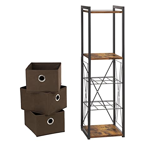 Amazon.com: SONGMICS Vintage Storage Ladder, Multifunctional ...