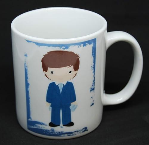 Taza de primera comunión con niño con traje azul: Amazon.es ...