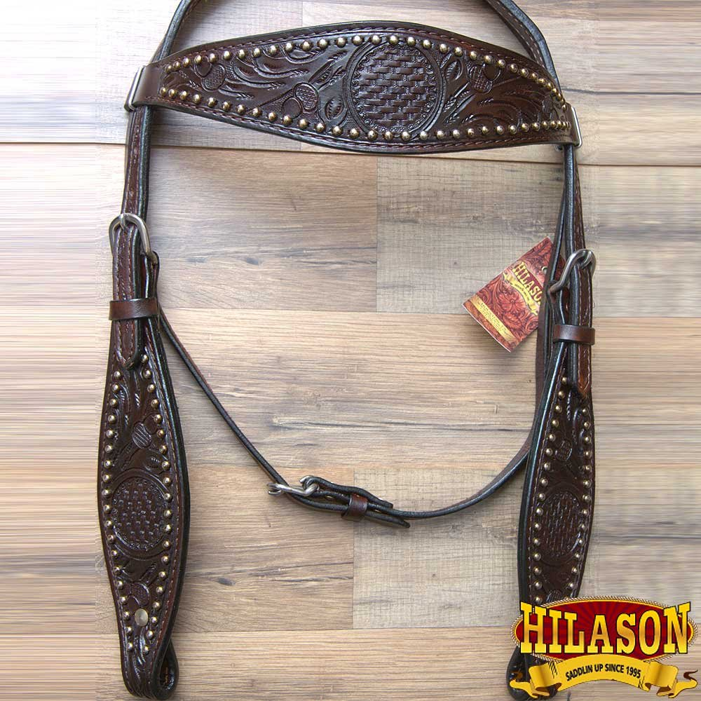 Hilason WesternレザーHorse Headstall Breast襟ウォールナットFloral Carved  標準