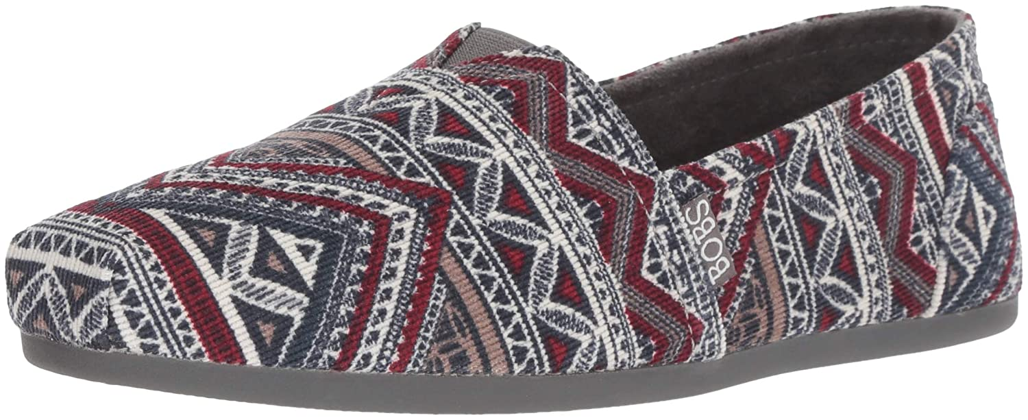 Skechers BOBS Women's Bobs Plush Rivers Edge. Aztec Corduroy Slip on W Memory Foam Ballet Flat